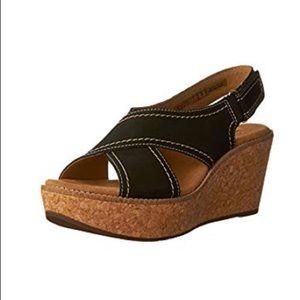 Clark's wedge sandal. Nubuck
